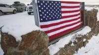 US flag outside wildlife reserve in Oregon