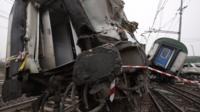 Train wreckage on the tracks