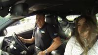 Stunt car driver and Natalie