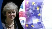 Theresa May with graphic of Union Jack and EU flag