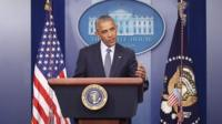 President Obama speaking at news conference