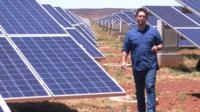 Jason Boswell at a solar farm in Kimberley, Northern Cape, South Africa