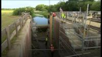 Lock gates being installed