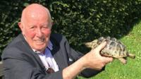 Richard Wilson with tortoise