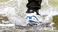Running through a puddle