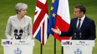 Theresa May and Emmanuel Macron at a joint news conference in Paris on 13 June 2017