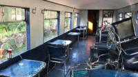 Railway carriage damaged by vandals