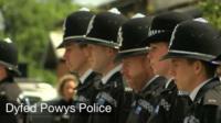 Dyfed Powys Police observe the minute's silence
