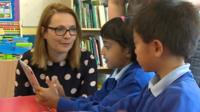 Kirsty Williams and pupils