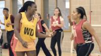 Players from Bran Nu netball club having fun on the court
