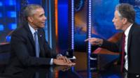"""President Obama with Jon Stewart on """"The Daily Show"""""""