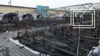 Сгоревший палаточный лагерь