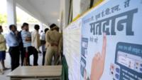 Voters lined up at government school in Sector 27 early in the morning to cast their votes on April 11, 2019 in Noida, India.