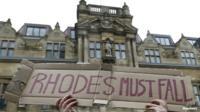 Demonstrators outside Oriel College in Oxford