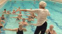 90-year-old Margaret Main takes water aerobics classes for over 50s.