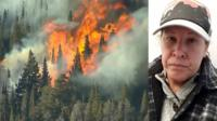 Composite image of wildfire and teacher CarrieAnn Fain