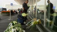 Memorial flowers at airport