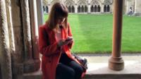 Instagrammer at Norwich Cathedral