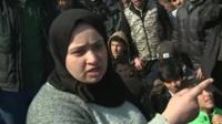 Migrant woman at border