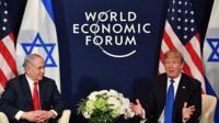 Benjamin Netanhayu and Donald Trump at Davos
