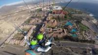 Paragliding over hotel
