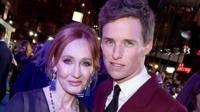 JK Rowling and Eddie Redmayne at Fantastic Beasts 2 premiere