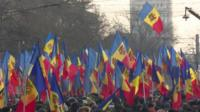 Protesters with Moldovan flags