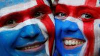 Iceland fans at the Stade de Nice, Nice, France. 27 June 16.