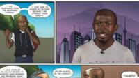 Andile Dube and his comic book