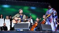 Damon Albarn and the Orchestra of Syrian Musicians play at Glastonbury 2016