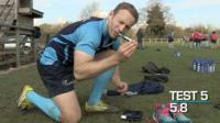 Worcester's Chris Pennell takes a diabetes test after training