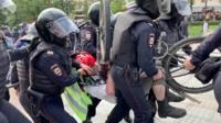 Акция протеста в Москве за две минуты