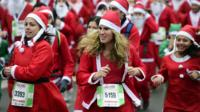 Runners dressed as Santa