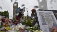 Flower tributes for Jo Cox at Parliament