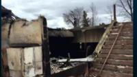 A burned-out building in Fort McMurray