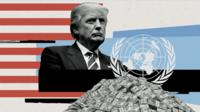 Donald Trump and United Nations symbol