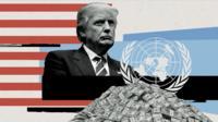 Donald Trump and United Nations symbol