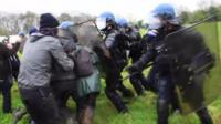 French police clash with protesters during the eviction of environmental protesters
