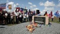 A procession from Hrabove made its way to the site of the crash
