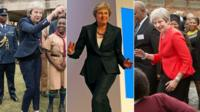 Composite image of Theresa May dancing