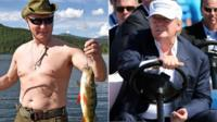 Putin fishing and Trump in golf cart