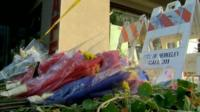 Flowers have been left near the scene of the tragedy in California