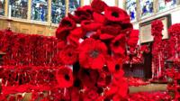 Poppy display in Norwich church