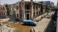 Bomb-damaged Italian consulate in Cairo