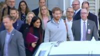 Harry and Meghan leaving the airport