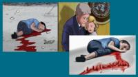 Cartoon depictions of Jamal al-Ashqar, the boy who was killed in Aleppo after an airstrike