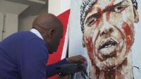Artist Mbongeni Buthalezi at work