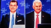 Turkish mayoral candidates Ekrem Imamoglu and Binali Yildirim