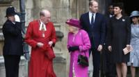 The Duke and Duchess of Cambridge, Prince Andrew and his daughters Princess Beatrice and Princess Eugenie were with the Queen at the service.