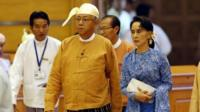 Myanmar new president Htin Kyaw and Myanmar democracy leader Aung San Suu Kyi at the Union Parliament in Naypyitaw, Myanmar, 30 March 2016